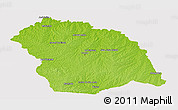 Physical Panoramic Map of FLORES, cropped outside