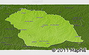 Physical Panoramic Map of FLORES, darken