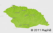 Physical Panoramic Map of FLORES, single color outside