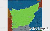 Political 3D Map of FLORIDA, darken