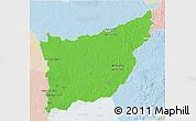 Political 3D Map of FLORIDA, lighten