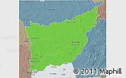 Political 3D Map of FLORIDA, semi-desaturated