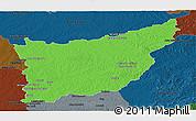 Political Panoramic Map of FLORIDA, darken
