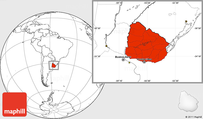 Blank Location Map Of Uruguay - Uruguay blank map