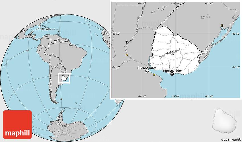 Blank Location Map Of Uruguay Gray Outside - Uruguay blank map