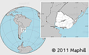Blank Location Map of Uruguay, gray outside