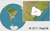 Blank Location Map of Uruguay, satellite outside