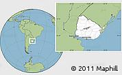 Blank Location Map of Uruguay, savanna style outside