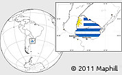 Flag Location Map of Uruguay, blank outside