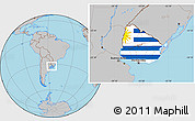 Flag Location Map of Uruguay, gray outside