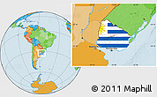 Flag Location Map of Uruguay, political outside