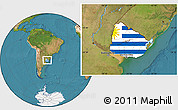 Flag Location Map of Uruguay, satellite outside