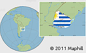 Flag Location Map of Uruguay, savanna style outside