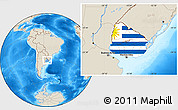 Flag Location Map of Uruguay, shaded relief outside