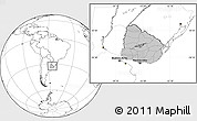Gray Location Map of Uruguay, blank outside
