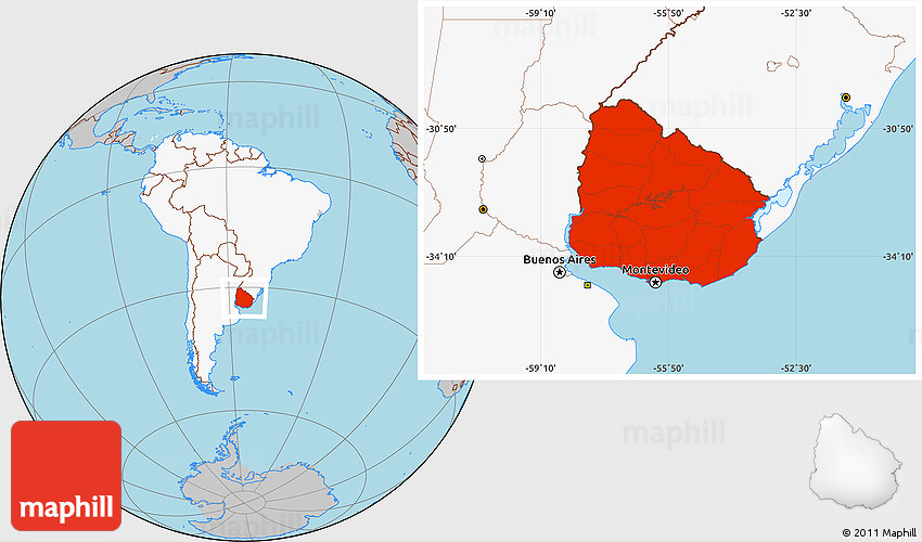 Gray Location Map Of Uruguay Highlighted Continent - Map of uruguay world