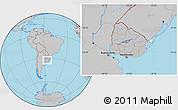 Gray Location Map of Uruguay, hill shading inside