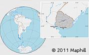 Gray Location Map of Uruguay, lighten, land only