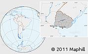 Gray Location Map of Uruguay, lighten