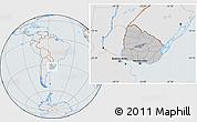 Gray Location Map of Uruguay, lighten, semi-desaturated
