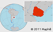 Gray Location Map of Uruguay