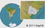 Gray Location Map of Uruguay, satellite outside