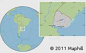 Gray Location Map of Uruguay, savanna style outside