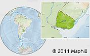 Physical Location Map of Uruguay, lighten