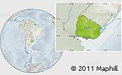 Physical Location Map of Uruguay, lighten, semi-desaturated