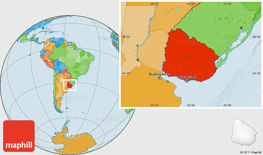Political Location Map of Uruguay