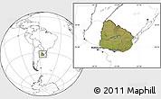 Satellite Location Map of Uruguay, blank outside