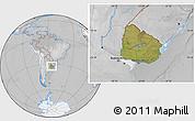 Satellite Location Map of Uruguay, lighten, desaturated