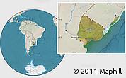 Satellite Location Map of Uruguay, lighten, land only