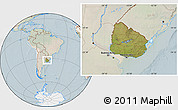 Satellite Location Map of Uruguay, lighten