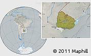 Satellite Location Map of Uruguay, lighten, semi-desaturated