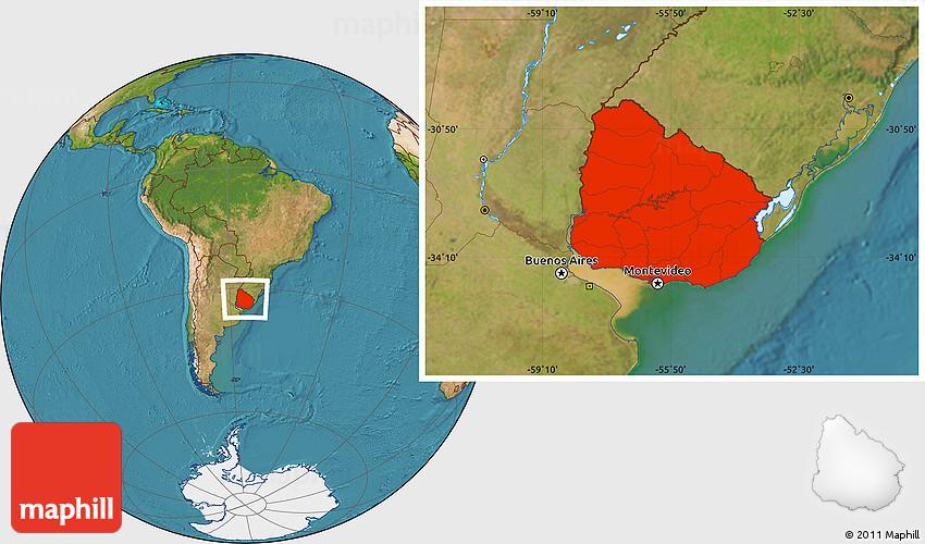 Satellite Location Map Of Uruguay