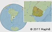 Satellite Location Map of Uruguay, savanna style outside, hill shading