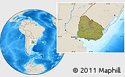 Satellite Location Map of Uruguay, shaded relief outside