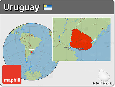 Savanna Style Location Map of Uruguay