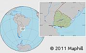 Savanna Style Location Map of Uruguay, gray outside, hill shading inside