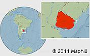 Savanna Style Location Map of Uruguay, hill shading