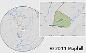 Savanna Style Location Map of Uruguay, lighten, desaturated, hill shading