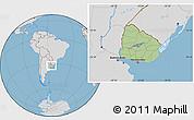 Savanna Style Location Map of Uruguay, lighten, desaturated, land only