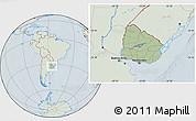 Savanna Style Location Map of Uruguay, lighten, hill shading