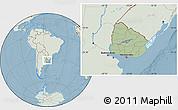 Savanna Style Location Map of Uruguay, lighten, land only, hill shading