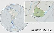 Savanna Style Location Map of Uruguay, lighten, semi-desaturated, hill shading