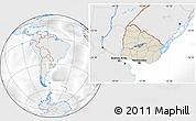Shaded Relief Location Map of Uruguay, lighten, desaturated