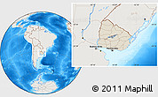 Shaded Relief Location Map of Uruguay, lighten, land only