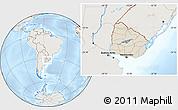 Shaded Relief Location Map of Uruguay, lighten