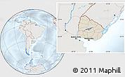 Shaded Relief Location Map of Uruguay, lighten, semi-desaturated